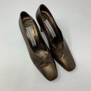 Vintage Donald J Pliner Brass Heels